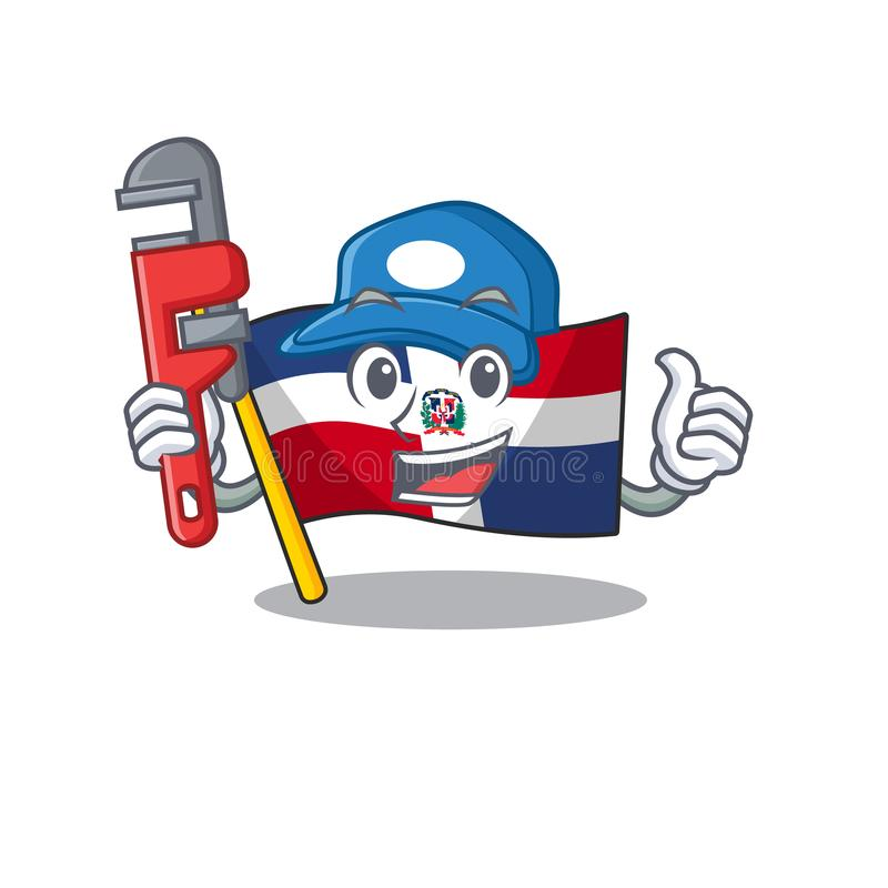 CoolPlumber-flaggans dominikan återge i mascot-bildformat stock illustrationer