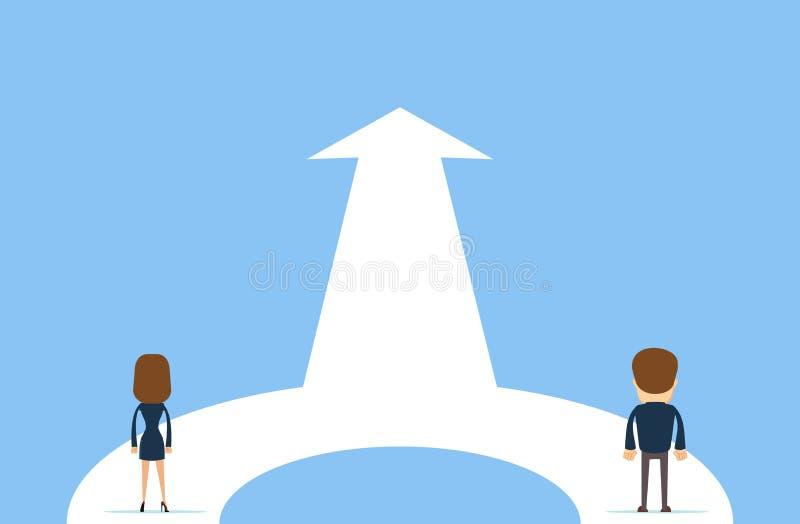 Coopération d'affaires et concept de vecteur d'association Femme et homme travaillant ensemble pour l'objectif commun illustration de vecteur