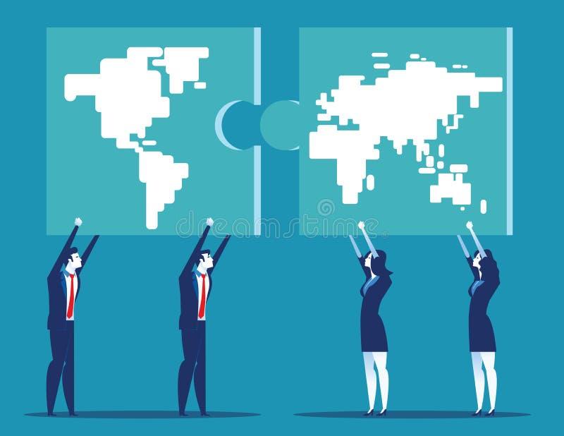 Coopération d'hommes d'affaires avec des affaires globales Illustration de vecteur d'affaires de concept illustration stock
