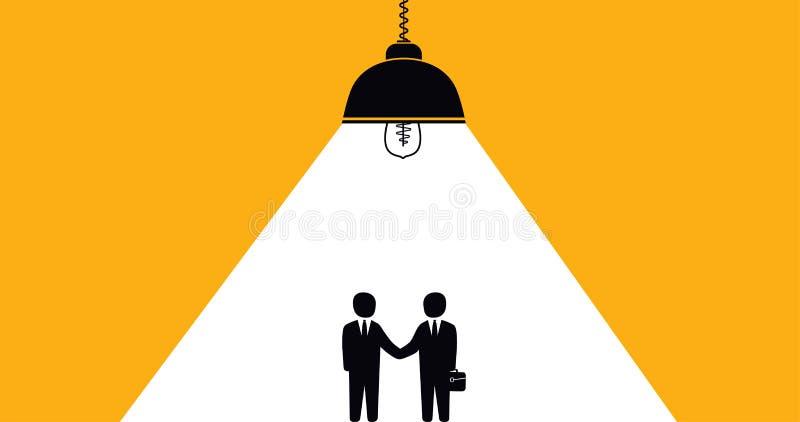 Coopération d'hommes d'affaires de poignée de main, conclusion réussie d'association d'un contrat illustration stock