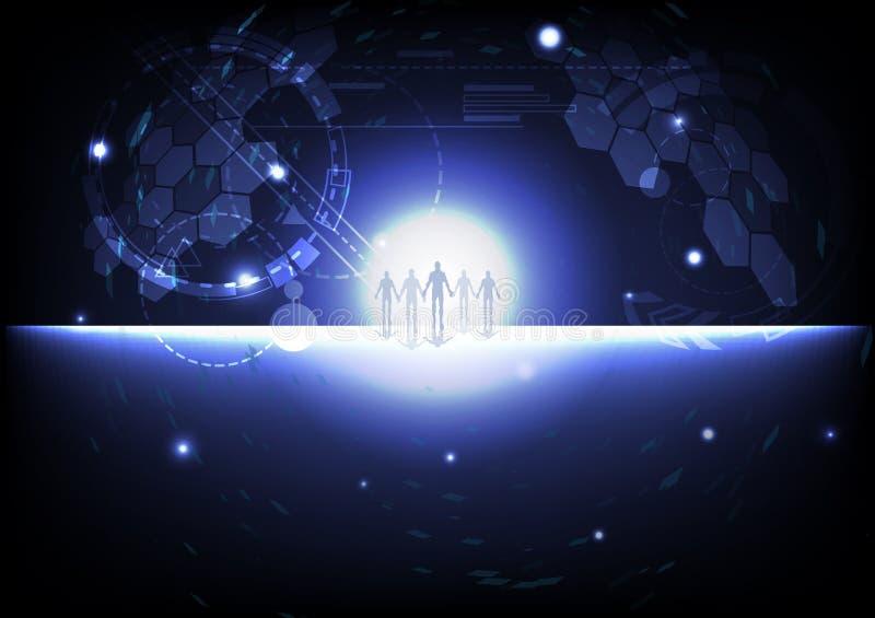 Coopération humaine, espace de galaxie de pixel d'affaires d'alliances stratégiques en dehors des affaires de planète et de conce illustration stock