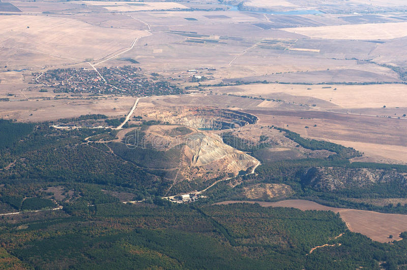 Cooper mine - Aerial view - Bulgaria royalty free stock photography