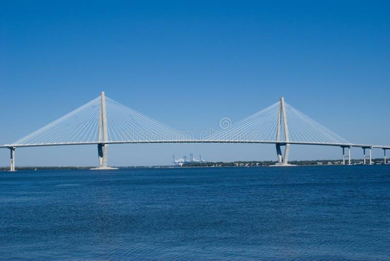 Cooper River Bridge. Scenic View of the Cooper River, Bridge and marina in Charleston SC stock photography