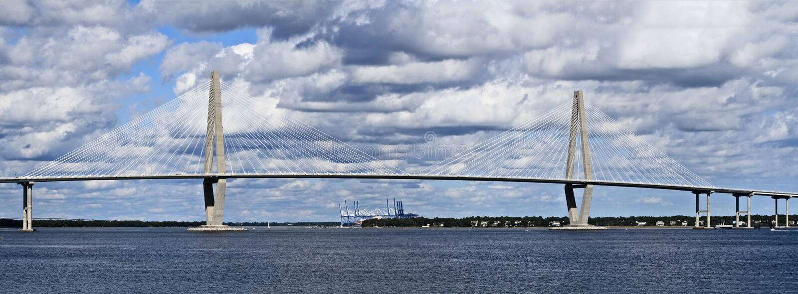 Cooper River Bridge. In Charleston, South Carolina on a beautiful day royalty free stock photography