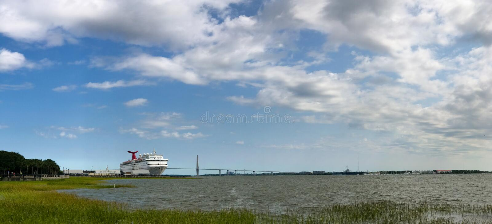 Cooper River, Charleston, SC. Wide view of the Cooper river in Charleston, SC, looking towards the Ravenel Bridge royalty free stock photo