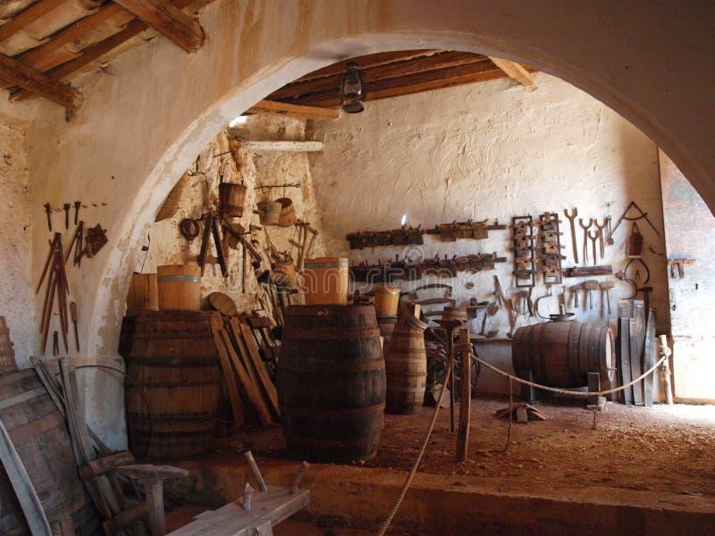 Cooper's workshop, Grotta Mangiapane, Sicily, Italy stock photo