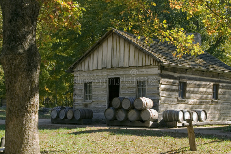 Cooper Shop. Original cooper shop (makes wooden barrels) located in new salem village, illinois stock images