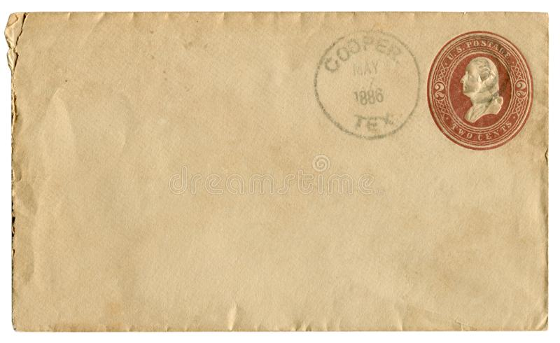 Cooper, Texas, The USA  - 7 May 1886: US historical envelope: cover with brown embossed imprinted stamp, two cents George Washingt stock photos