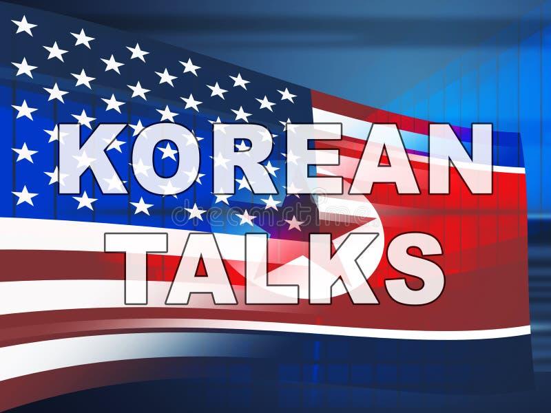 A cooperação da Coreia do Norte fala com ilustração dos EUA 3d ilustração stock