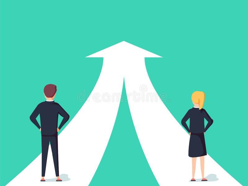 Cooperação do negócio e conceito do vetor da parceria Mulher e homem que trabalham junto para o objetivo comum ilustração royalty free