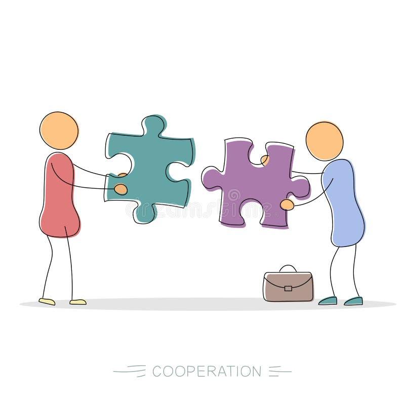 Cooperação entre dois homens de negócios ilustração do vetor