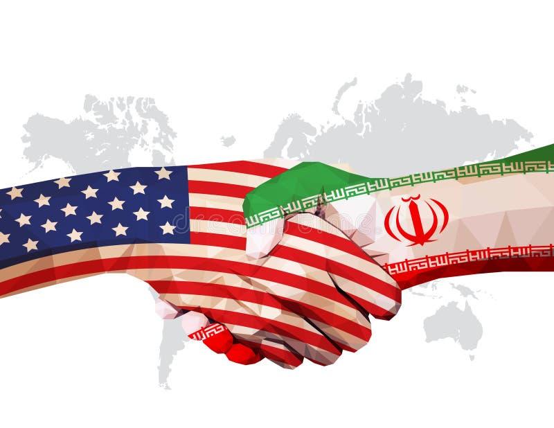 Cooperação entre os EUA e o Irã: sinalizadores em mãos apertadas, virados um para o outro no mapa mundial ilustração do vetor
