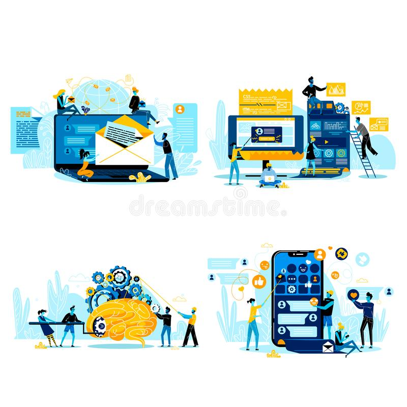 Cooperação para o sucesso, executivos dos trabalhos de equipe ilustração stock