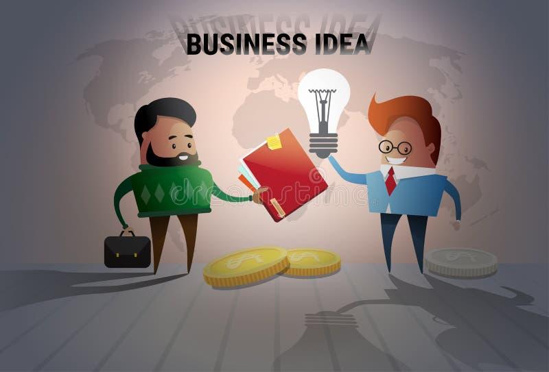 Cooperación creativa del intercambio de ideas de la bombilla del concepto de la idea del hombre de negocios dos nueva stock de ilustración