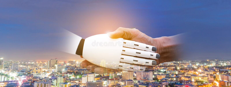 Cooperación de la sacudida de la mano del robot un concepto imagenes de archivo