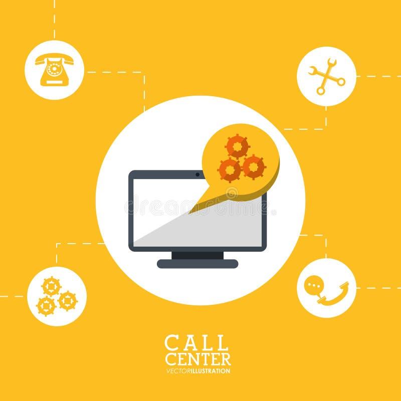 cooperación del trabajo del engranaje de la tecnología del centro de atención telefónica ilustración del vector