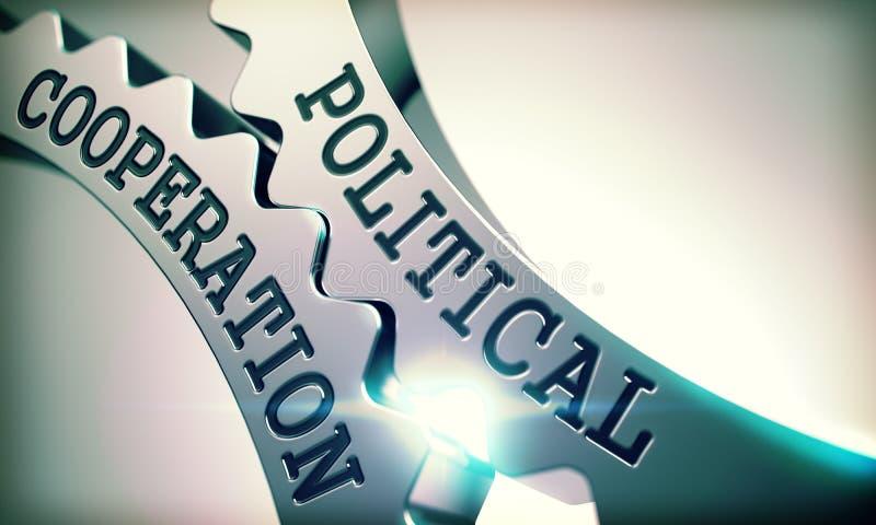 Cooperación política - mecanismo de los engranajes brillantes del diente del metal 3d stock de ilustración