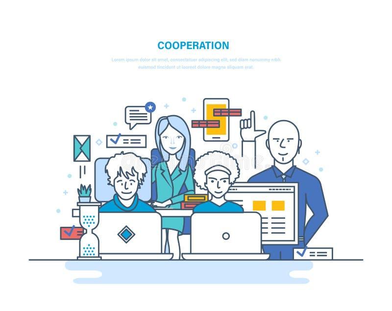 Cooperación, sociedades, trabajo en equipo con los colegas, interacción entre ellos mismos, coworking, colaboración stock de ilustración