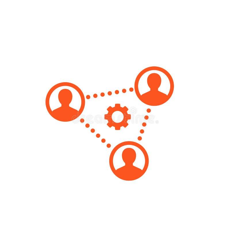 Cooperación, trabajo en equipo, icono de grupo de trabajo ilustración del vector