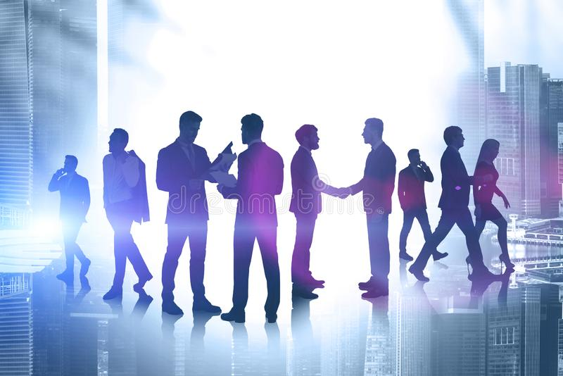 Cooperating business people in city royalty free stock photo