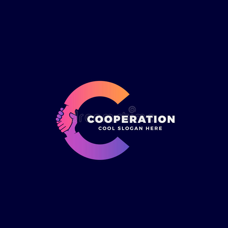 Cooperation Abstract Vector Sign, Symbol or Logo Template. Hand Shake Incorporated in Letter C Concept. On Dark Background vector illustration