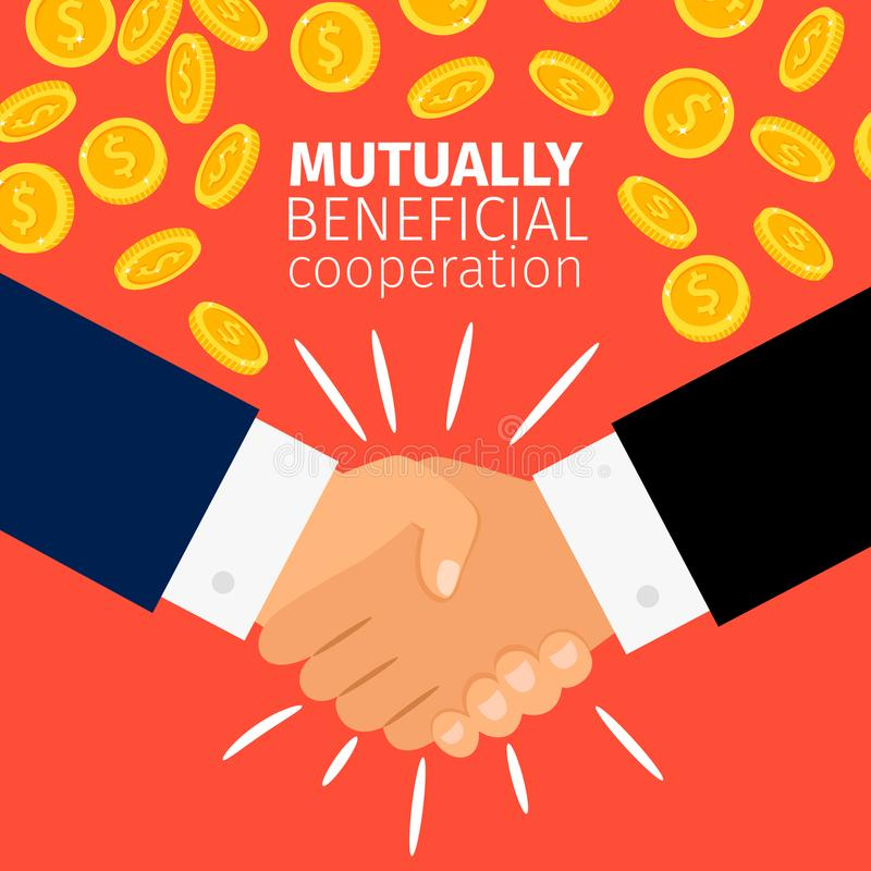 Cooperation concept, businessmen handshaking. Cooperation concept vector illustration. Businessmen shaking hands under the rain of golden coins stock illustration