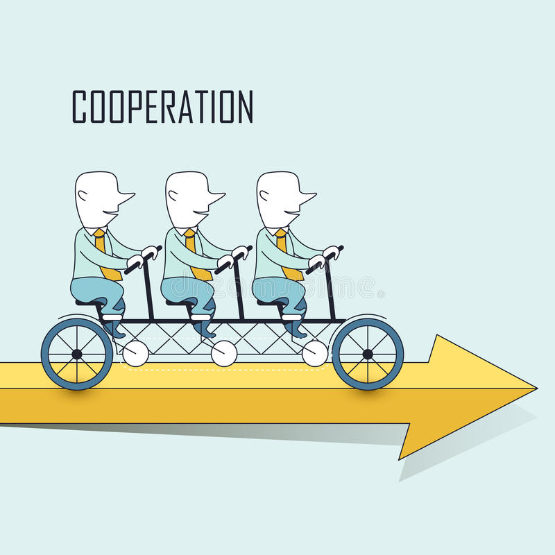 Cooperation concept. Businessmen riding a tandem bicycle in line style vector illustration