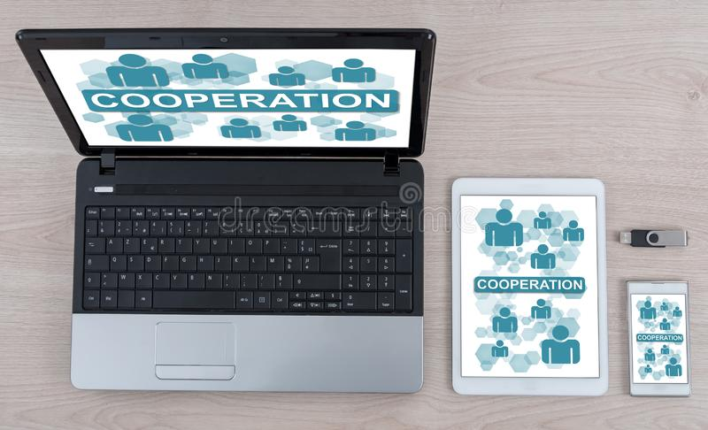 Cooperation concept on different devices. Cooperation concept shown on different information technology devices vector illustration