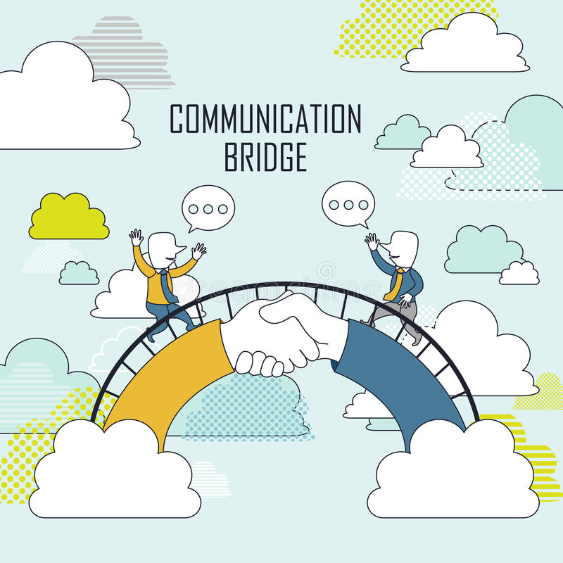 Cooperation concept. Two businessmen on communication bridge in line style vector illustration