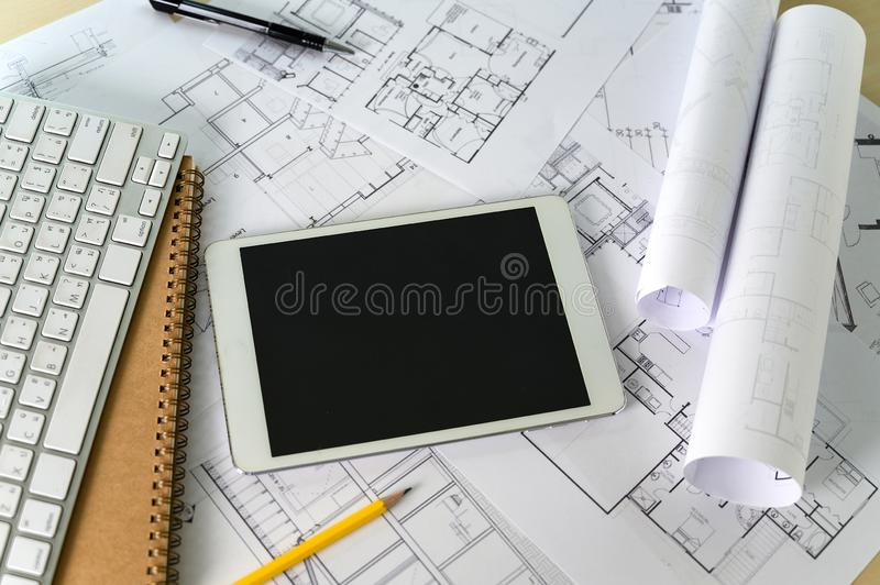 Cooperation Corporate computer laptop and pro digital  architectural project Architects working work. R royalty free stock photo