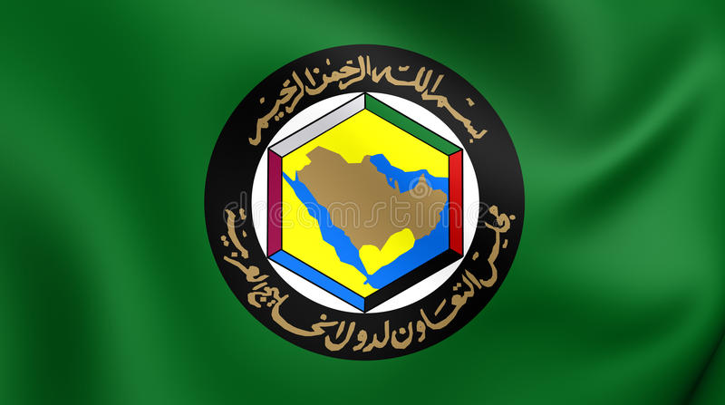 Cooperation Council for the Arab States of the Gulf Flag. Close Up vector illustration