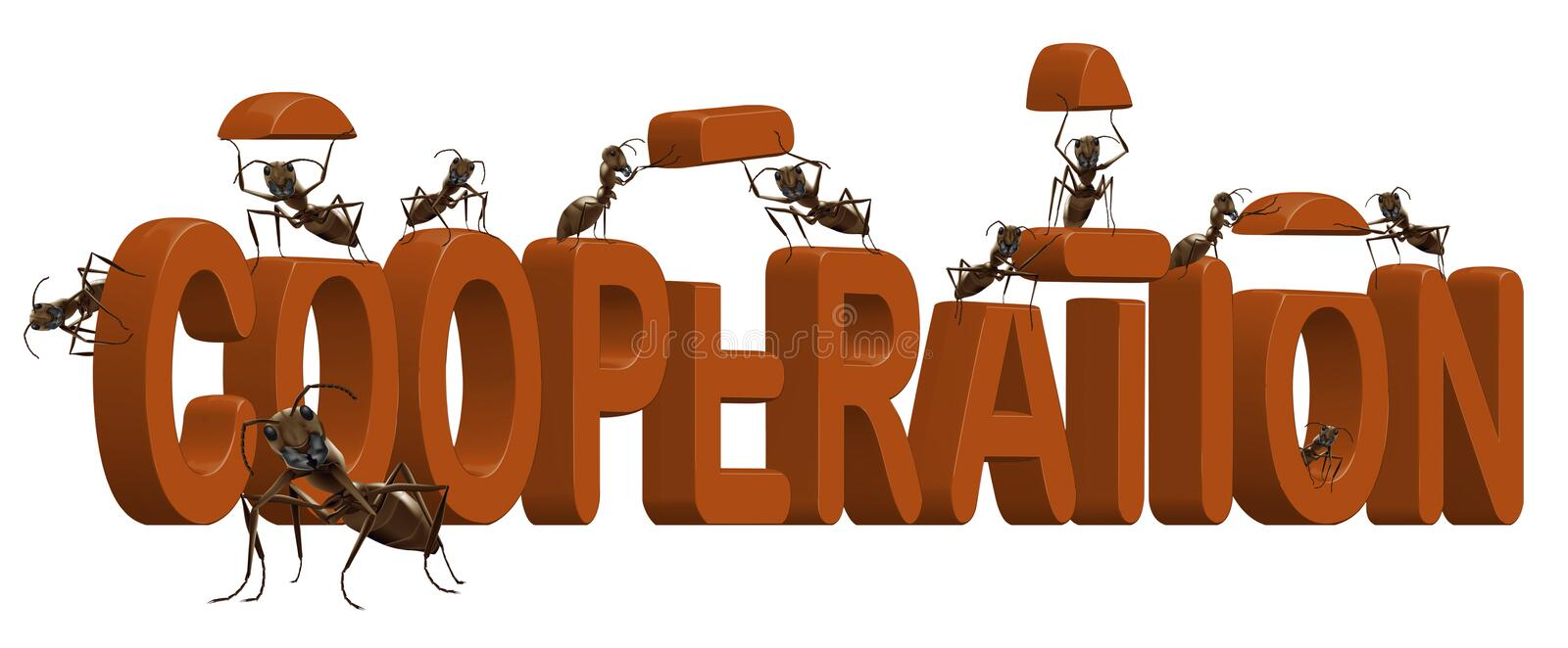 Cooperation teamwork and team spirit cooperate. Ants building red word cooperation concept for teamwork or business team spirit togetherness creativity and royalty free illustration