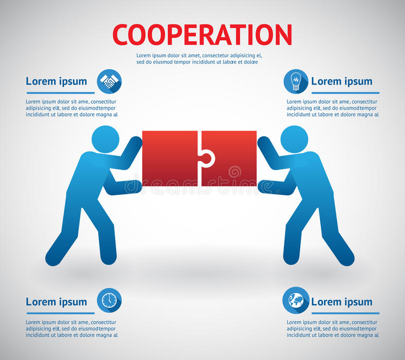 Cooperation And Teamwork Template Stock Vector - Illustration of ...