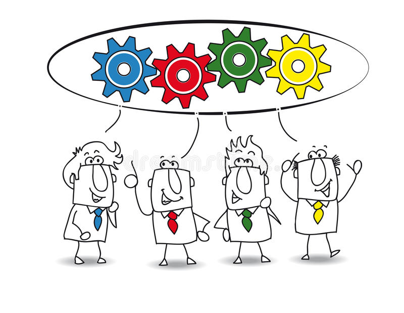 Cooperation. This teamwork is very productive. Each of the businessmen have an idea for resolve the problem. each colored gear represents the idea of each stock illustration