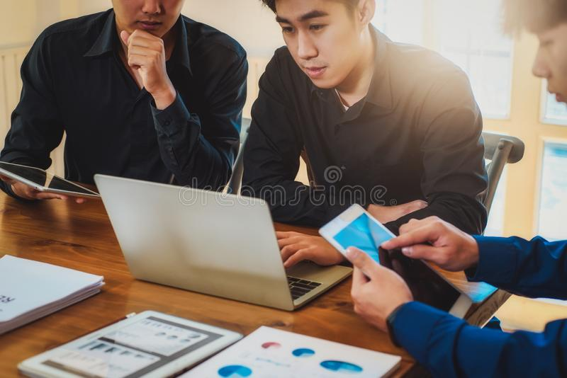 Cooperation at working group of business man for meeting in office. Achievement Teamwork Concept royalty free stock photography