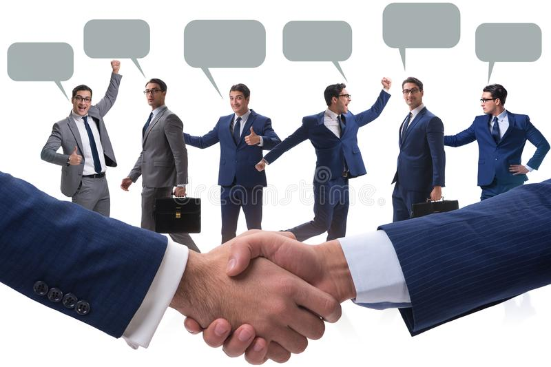 The cooperationa and teamwork concept with handshake stock images
