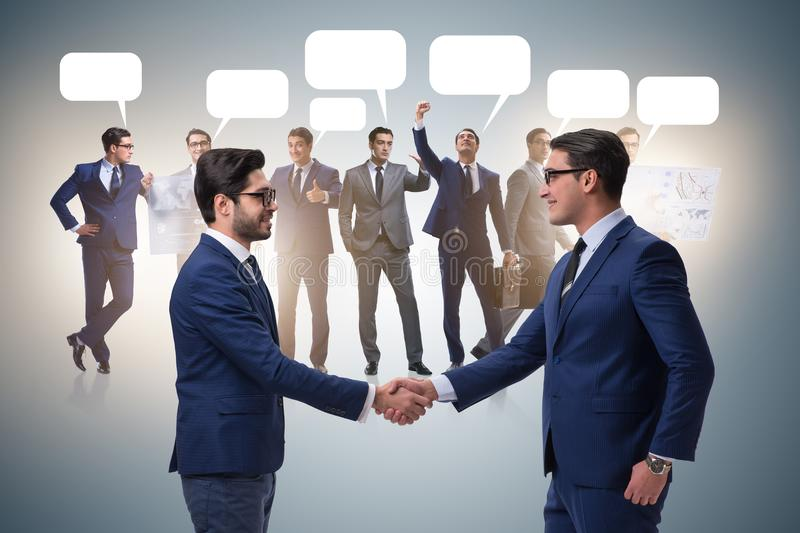 The cooperationa and teamwork concept with handshake stock image