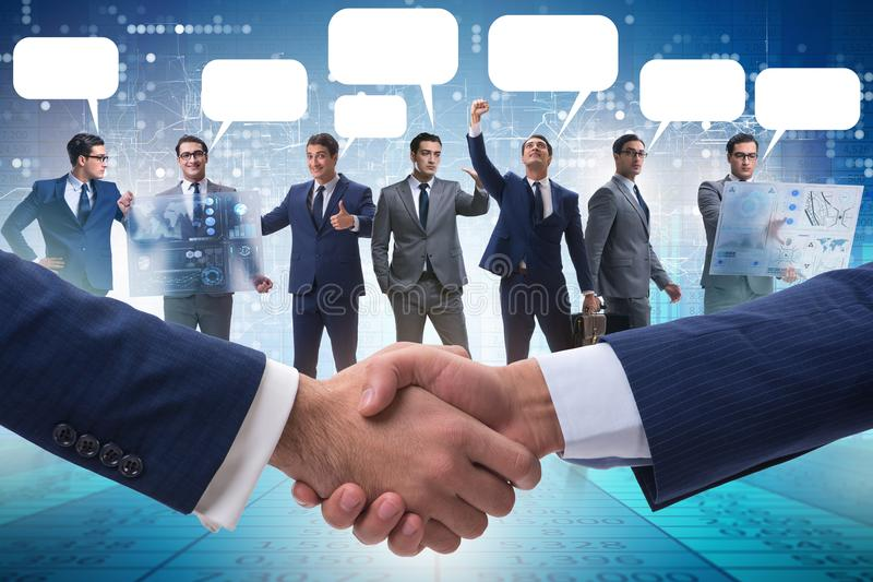 The cooperationa and teamwork concept with handshake royalty free stock photo