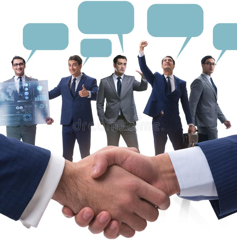 Cooperationa and teamwork concept with handshake royalty free stock image