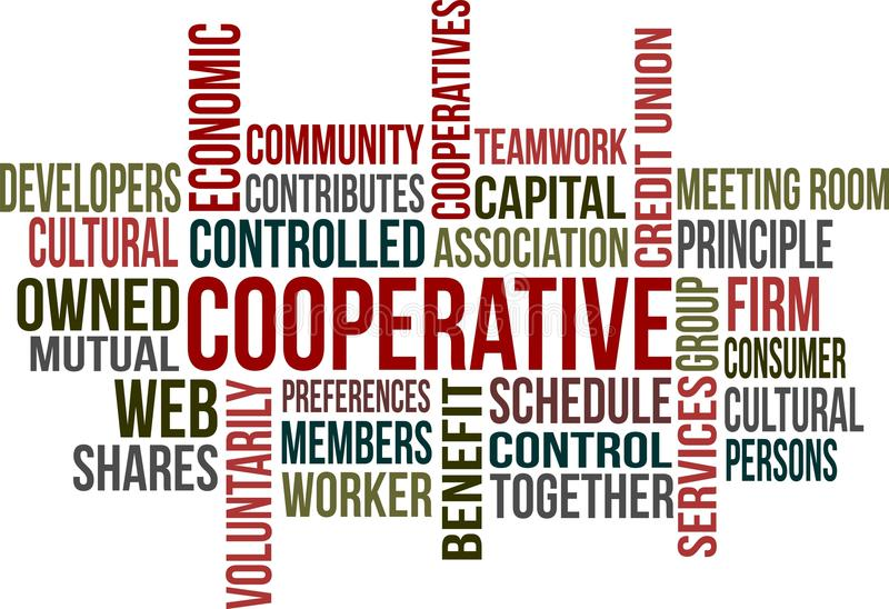 COOPERATIVE. A word cloud of Cooperative related items royalty free illustration