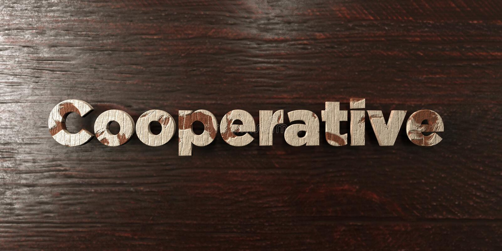 Cooperative - grungy wooden headline on Maple - 3D rendered royalty free stock image. This image can be used for an online website banner ad or a print vector illustration