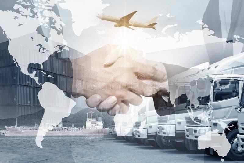 Cooperaton världsomspännande logistik som sänder total- trans.service Flygfrakter sändningsbehållare, räkning för lastbilflotta royaltyfri foto