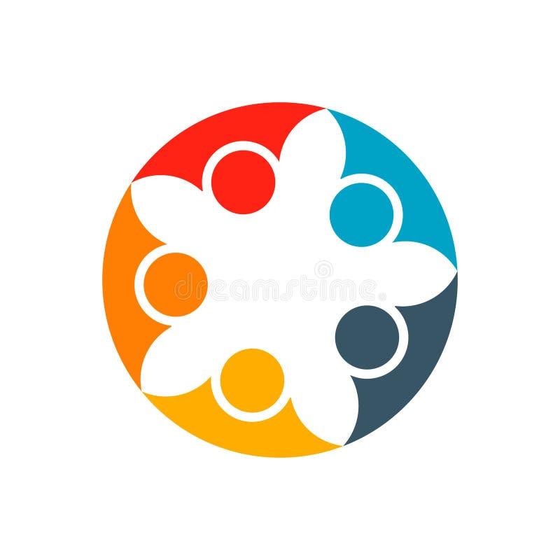 Cooperazione astratta della gente Modello di progettazione di logo di vettore Concep illustrazione vettoriale