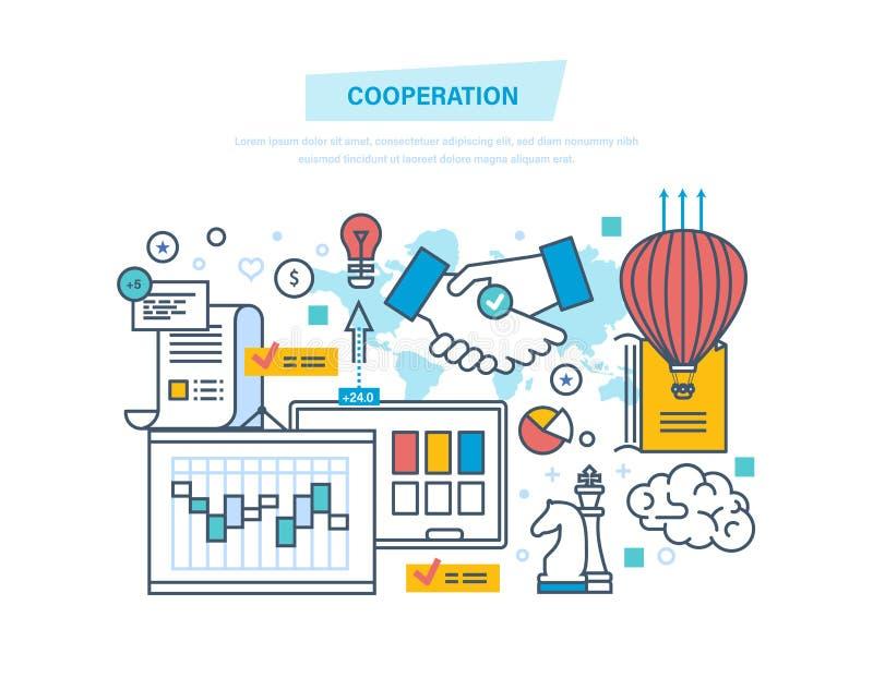 Cooperazione, collaborazione del gruppo, associazioni, lavoro di squadra, vendita, affare di affari royalty illustrazione gratis