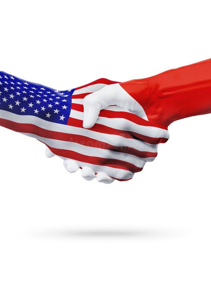 Cooperazione di concetto delle bandiere di Malta e degli Stati Uniti, affare, concorrenza di sport fotografia stock libera da diritti