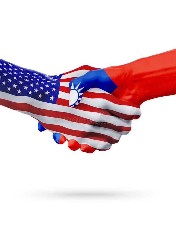 Cooperazione di concetto delle bandiere di Taiwan e degli Stati Uniti, affare, concorrenza di sport illustrazione di stock