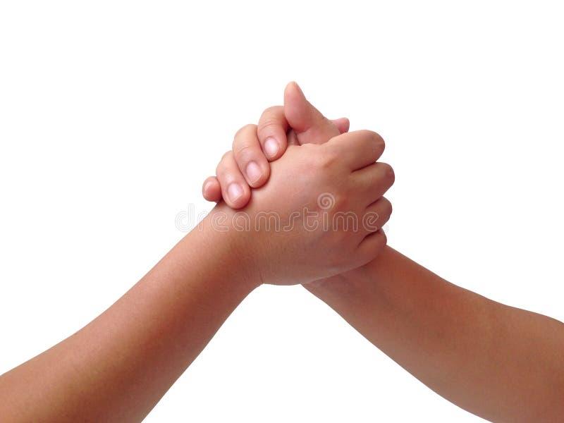 Coordenação da mão de duas pessoas fotografia de stock royalty free