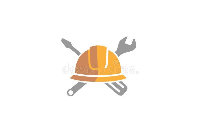 Coordenador criativo Wrench Logo Design Illustration do capacete ilustração stock