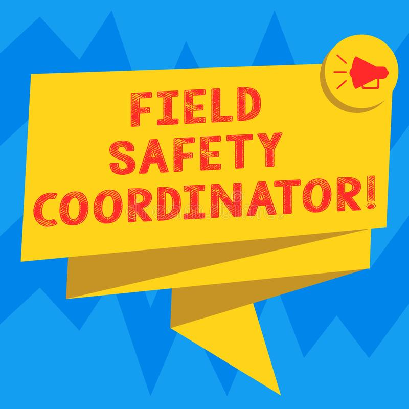 Coordenador da segurança do campo da exibição do sinal do texto A foto conceptual assegura a conformidade com saúde e os standard ilustração stock