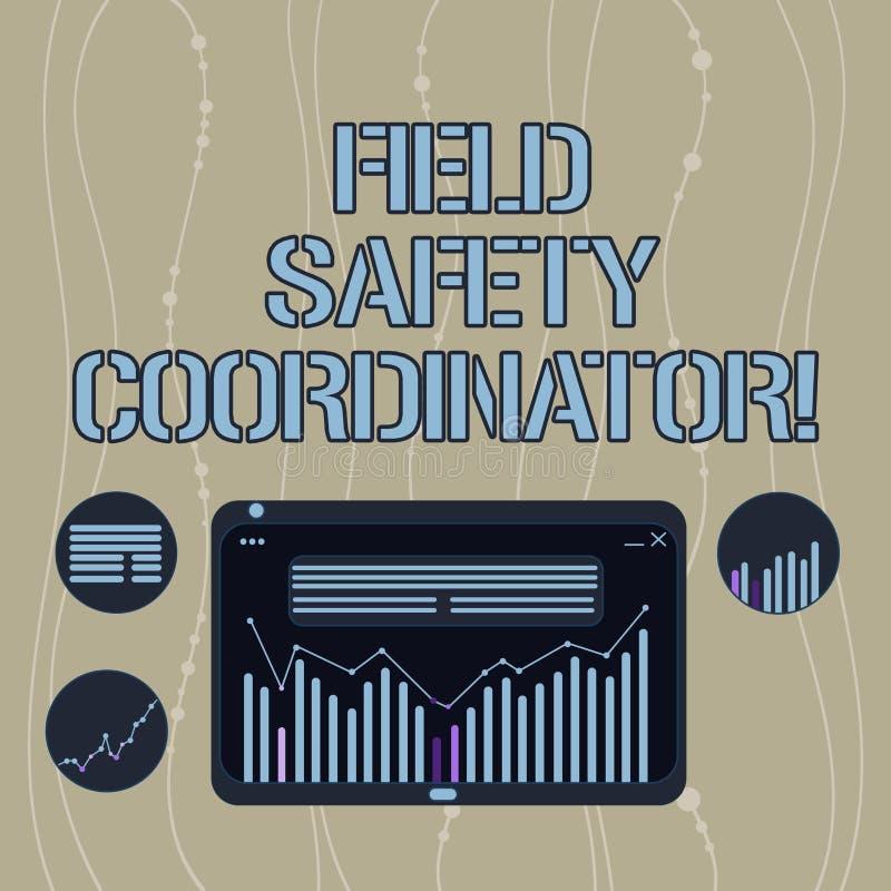 Coordenador da segurança do campo do texto da escrita O significado do conceito assegura a conformidade com combinação de Digitas ilustração stock